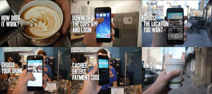 Приложение Cups сделано достаточно удобным: вы можете выбрать партнерские заведения из списка или найти их на карте. Найдя подходящее кафе, вы прямо на экране смартфона увидите доступные для заказа напитки (меню зависит в том числе и от вашего тарифного плана) и сможете выбрать желаемый. Затем обслуживающий вас официант вводит на вашем смартфоне платежный код — так система узнает о том, что сделка совершена