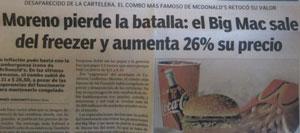 Газетный заголовок: «Морено проиграл сражение» (Морено — фамилия министра торговли)