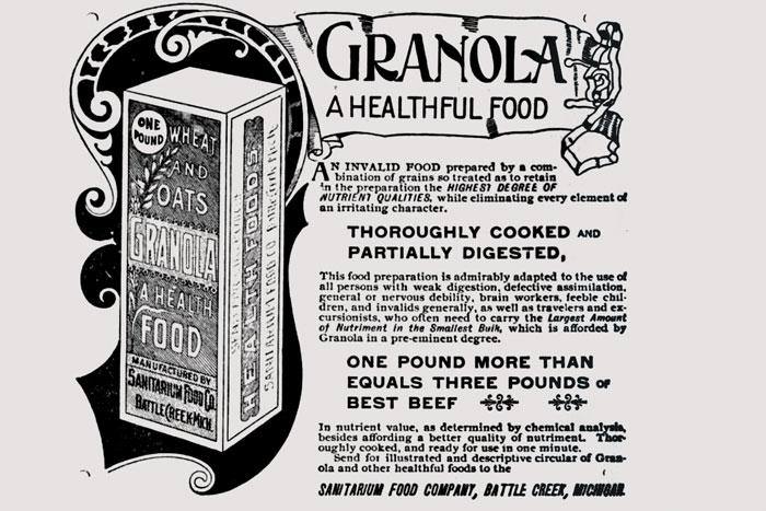 Овсяные зерна Granola — один из образчиков  «здоровой еды», которую  Джон Келлог  прописывал пациентам своего Санатория