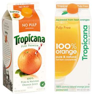 Пачка справа на 20% меньше нравилась потребителям, хотя внутри был тот же сок