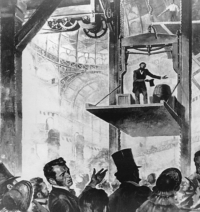 Демонстрация безопасного лифта, которую Элайша Отис провел  в Нью-Йорке во время Всемирной ярмарки 1854 года, произвела фурор