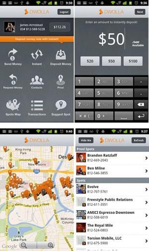 Приложение Dwolla для iOS позволяет по карте на экране смартфона найти ближайшие заведения, признающие этот платежный инструмент, и с помощью того же самого смартфона расплатиться в них.
