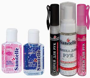 В линейке Sanitelle появились флаконы разных объемов и с различными запахами и добавками, а также спреи, пенки для рук и т.д.