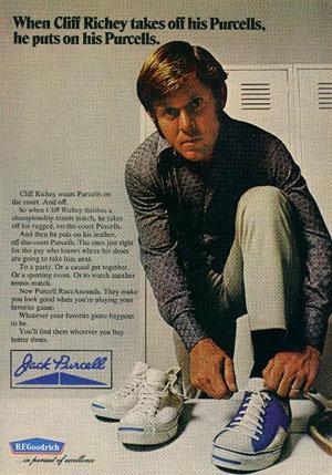 В1970-е такие игроки втеннис, какКлифф Ричи, продолжали носить Сonverse Rurcells со«смайликом», придуманным чемпионом побадминтону Джеком Перселлом еще в1930-х